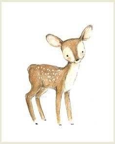 This little fawn is just waiting to play with... you? - art print from an original watercolor, gouache, and acrylic painting by Kit Chase. - archival matte paper and ink - vertical print - ships world