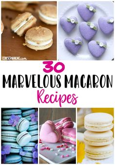 Macarons are simply Marvelous desserts. So perfect in every way. That's why I've put together a list of 30 Marvelous Macaron Recipes that will make you jump for joy! Healthy Dessert Recipes, Cookie Recipes, Delicious Desserts, Snack Recipes, Snacks, Mini Desserts, Party Desserts, Summer Desserts, Oreo Dessert