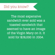 That's a pretty special sandiwch. Need To Know, Did You Know, Fun Facts, Bond, Sandwiches, Toast, Mary, Cleaning, Cooking