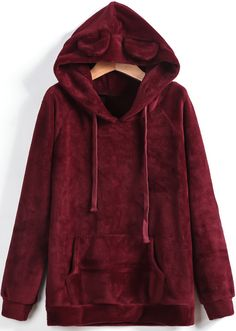 Wine Red Hooded Pockets Long Sleeve Drawstring Sweatshirt 21.33