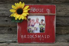 Rustic Bridesmaid Picture Frame Red Photo Frame by MyRusticPlace