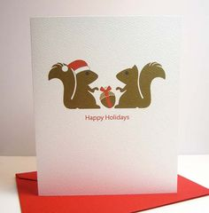 Holiday Card / Squirrels / Happy Holidays / Christmas by maddesign