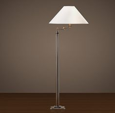 """French Column Glass Swing-Arm Floor Lamp Overall: 9½""""W x 18""""D x 60""""H Cord: 12'L"""