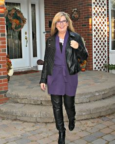 Leather leggings and Moto Jacket with Long belted WoolOver Cardigan
