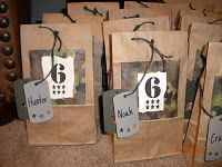 goody bags - go to Randi's camo party board for more ideas. Thats a good idea because ive had parties and kids fight over which bag is thehrs!