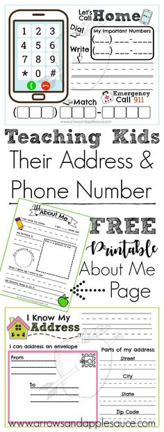 Address and Phone Number Activities We're learning about our address and phone number while practicing to dial and to address an envelope. Enjoy these fun and educational printables including a free About Me interview page, phone number activity, and addr Number Activities, Preschool Learning Activities, Teaching Kids, Kids Learning, Toddler Activities, Preschool Plans, Geography Activities, Preschool Printables, Alphabet Activities