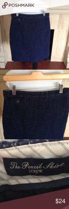 J Crew Navy Tweed Pencil Skirt Excellent condition  no flaws. Fully lined J. Crew Skirts Pencil
