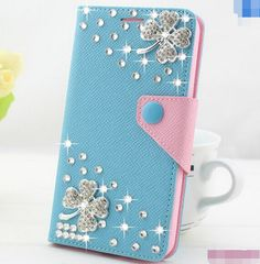 Bling Bling Flower Tassel Case Diamond Wallet Case Stand Cover for Samsung Galaxy S6