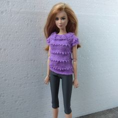 Barbie doll clothes. Hand-knitted sweater and leggings for 12 inch Barbie dolls