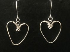 Handcrafted Hearts Drop Earrings, Pure 999 Silver, Hammered and Wrapped by MJDesigns4You on Etsy