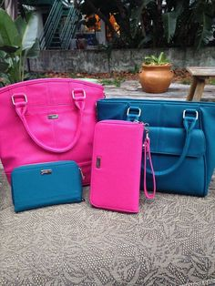 Pink Paris purse and All about the benjamins wallet with pink wristlet strap.  Teal mini diamond district purse and teal rolling jewell wallet  get these on my website www.mythirtyone.com/tressamcbride