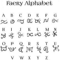 Faery Alphabet, scrapbook, journal, alphabets, secret code, (digital download)