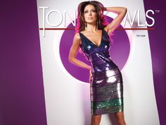 """Sleeveless prom dress of multi colored stretch sequin bands with """"V"""" neck. So fun cocktail from Tony Bowls!"""