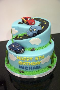 Cars Birthday Cake - make more like mountain with toy cars on a fondant road?