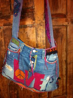 Crossbody Love Peace Hippie Hobo Denim Bag  Disc by recycleinstead,