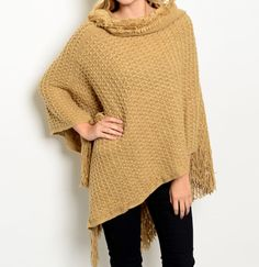 Cream Beige Poncho Sweater Tunic - BohoLocoBoutique