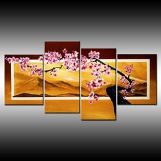 Cherry blossom modern painting zen japanese chinese by TheoDapore, $249.00