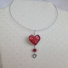 Collier tour du cou coeur et perle rouge, capsule nespresso : Collier par mariecrea