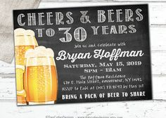 Cheers and Beers to 30 Years  Male Birthday by TresCutiesDesigns