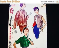 Vintage Simplicity 1950s Jacket Pattern, Misses size 16 Bust 34, Womens Bolero Jacket Sewing Pattern, Short Jacket, Sleeveless Vest Vintage Sewing Pattern This wardrobe of three individually styled jackets features a hip length jacket with long sleeve in view 1. Collar and