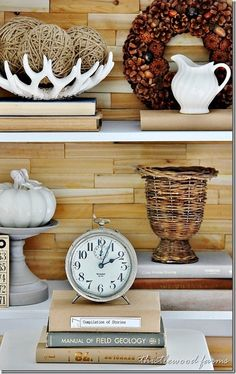 5 things every bookcase needs (thistlewood farm). Like the antler bowl