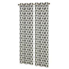 Window Elements Malden Printed Cotton Blend 84 in. L Grommet Curtain Panel Pair, Black/Silver (Set of 2)