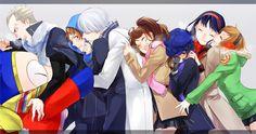 Persona 5 Tumblr, Persona Q, Persona 4 Wallpaper, Yosuke Hanamura, Yu Narukami, Shin Megami Tensei Persona, Anime Group, Female Anime, Character Illustration