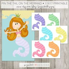 Pin the Tail on the Mermaid - INSTANT DOWNLOAD - PRINTABLE by SugarTotDesigns