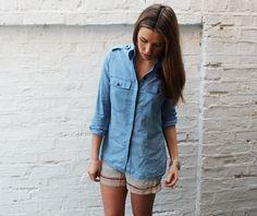 Genius! Marni for H printed silk shorts with denim shirt<3