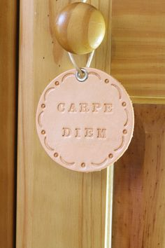 Carpe Diem Wall Hanging  Leather Roundel  by TinasLeatherCrafts. Repin To Remember.