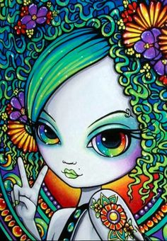 Rainbow eyes hippie girl