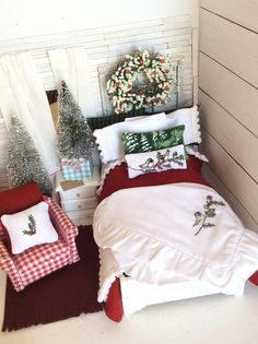 Miniature Woodland Winter Christmas Hand Embroidered Dollhouse Bedding and Hand Painted Sleigh Bed - Dollhouse scale 1:12 by RibbonwoodCottage on Etsy