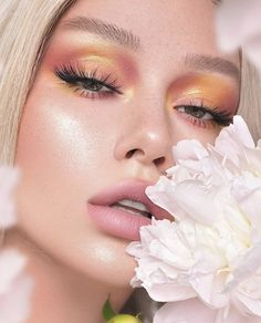 ♡ soft pink yellow orange gold eye makeup romantic eyeshadow - Make Up Glam Makeup, Gold Eye Makeup, Skin Makeup, Gold Eyeshadow, Makeup Cosmetics, Makeup Eyeshadow, Makeup Blush, Eyebrow Makeup, Beauty Make-up