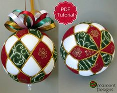 Christmas Ornament Tutorial – Pattern – DIY – No Sew – Harlequin - Fabric Crafts Quilted Christmas Ornaments, Christmas Fabric, Christmas Baubles, Christmas Crafts, Etsy Christmas, Quilted Fabric Ornaments, Christmas Ideas, Christmas Decorations, Christmas Tree