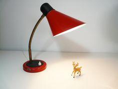 Vintage Gooseneck Desk Lamp Red Industrial Desk by FlyingSpoon