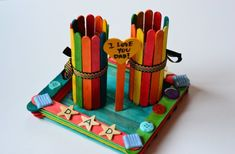 Ice Cream Stick Crafts Pen Stand Made With Icecream Sticks And