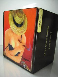 """Cigar Box w/ Oil painting on top """"Soledad"""" . Limited Edition"""