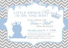 Prince Baby Shower Invitation Chevron Blue by AsYouWishCreations4u