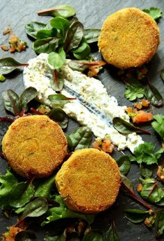 // butternut squash chickpea cakes with salsa, raita, red onion marmalade