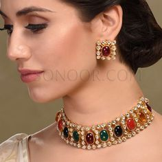 Evani Necklace Set with Earrings in dull gold finish studded with kundan and multi stones like onyx, jade, and agate Bridal Jewelry Vintage, Indian Wedding Jewelry, Indian Jewelry, Indian Bridal, Jewelry Roll, Jewelry Sets, Jewellery Box, Jewellery Shops, Damas Jewellery