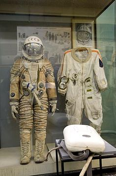 Alexey Leonov's space suit, used for the world's first space EVA, Zvezda Museum, Moscow