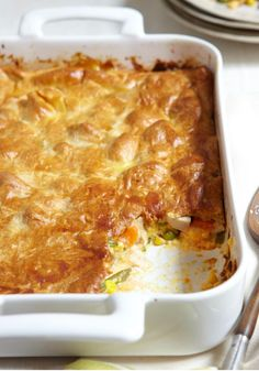 Cheesy Chicken Pot Pie – Some classics can't be improved. Pot pie isn't one of them. A delicate crust yields to veggies and chicken in a cheesy sauce. Yes, we said cheesy.