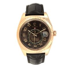 Rolex Sky-Dweller Black Pink gold Watches Pink And Gold, White Gold, Gold Skies, Sky Dweller, Rolex Models, Rolex Oyster Perpetual, 18k Rose Gold, Rolex Watches, Leather