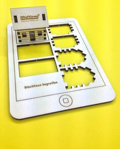 Lasercut Wood Smartphone Postcard with 3D Blockhouse... Press out and assembly it to a 3D Model :)