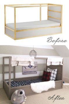 Looking for IKEA KURA Bed Hack Ideas? Check out this DIY tutorial for an IKEA Kura Bunk Bed makeover into a Boys Canopy Bed or safari bed. Also a great DIY tent bed for autistic children. Kura Bed Hack, Ikea Kura Hack, Ikea Hacks, Ikea Toddler Bed, Toddler Rooms, Ikea Kids Bed, Toddler Beds For Boys, Toddler Floor Bed, Bedroom Bed