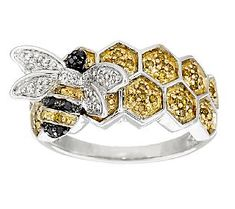 AffinityDiamond 1/4 cttw Honey- comb Bumble Bee Ring, Sterling