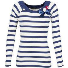 Mit diesem blau-weiß gestreiften #shirt der Marke Morgan zieht man neidische Blicke auf sich. Sehr süß finden wir die applizierte Schleife mit Blumen. Besonders zu #sandalen und #jeans kommt dieses #oberteil toll zur Geltung! #damenmode #trends #marinelook