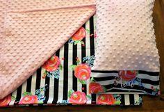 Nap Mat Cover - Black & White Stripe - Floral - Choose Your Colors - Kindermat - Back To School - Pillowcase - Blanket - Minky