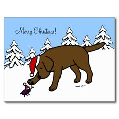 "Unique and funny Labrador Retriever Cartoon created by Naomi Ochiai from Japan. Innocent looking Chocolate Labrador is greeting to his little pal. Funny and cute Chocolate Labrador Cartoon design. Nice Christmas gift for Chocolate Labrador Fans. You can customize text and more! <br> <a href=""http://www.zazzle.com/happylabradors/gifts?cg=196846173285858610""><img ..."