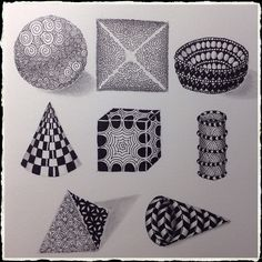 """I finally finished this page in my sketchbook! Day 8 in """"One Zentangle A Day"""" assignment was to draw some traditional geometric shapes (as strings) and use tangles to shade them in a three dimensional style."""